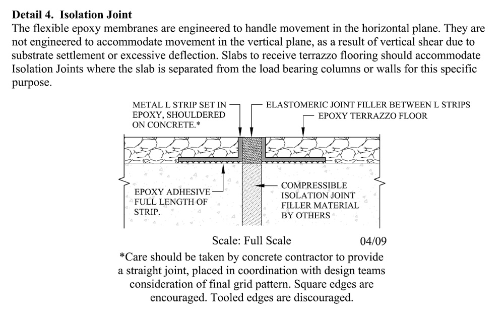 Detail 5 Terrazzo Control Jointing Over Full Elastomeric Membrane